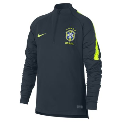 Brasilien CBF Dri-FIT Squad Drill Langarm-Fußballoberteil für ältere Kinder
