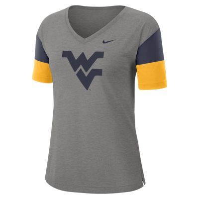 Nike College Breathe (West Virginia) Women's Short-Sleeve V-Neck Top