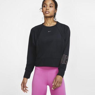 Nike Dri-FIT Get Fit Trainingsshirt van fleece met ronde hals en graphic voor dames