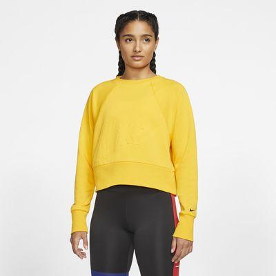 Nike Dri-FIT Get Fit Trainingsshirt van fleece met ronde hals voor dames
