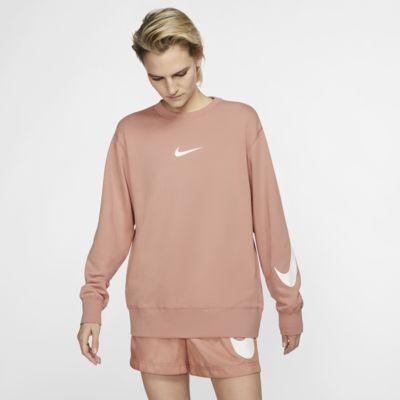 Langærmet Nike Sportswear Swoosh-trøje i frotte med rund hals