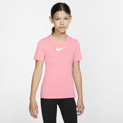 Nike Pro-overdel med korte ærmer til store børn (piger)
