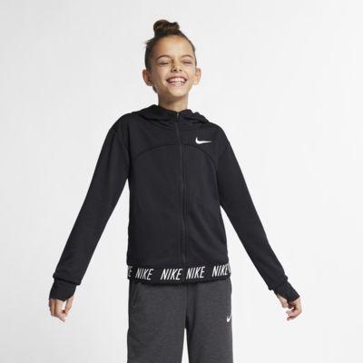 Sudadera con capucha de entrenamiento de cierre completo para niña talla grande Nike Dri-FIT Core Studio