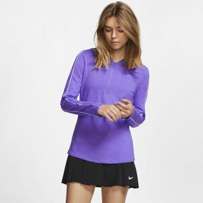 Damska koszulka do tenisa z zamkiem 1/2 NikeCourt Dri-FIT