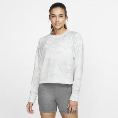 Nike Dri-FIT-camotræningstop i fleece til kvinder