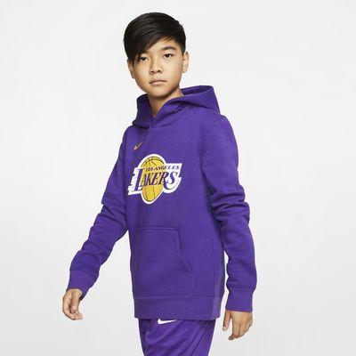 Pánská mikina Nike NBA s kapucí Los Angeles Lakers Logo pro větší děti