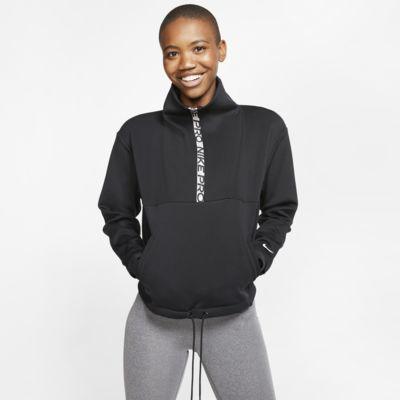 Top recortado em lã cardada Nike Pro para mulher