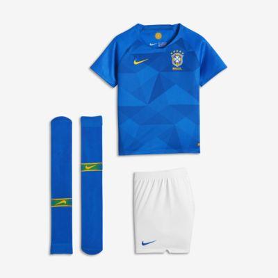 Uniforme de fútbol para niños talla pequeña 2018 Brasil CBF Stadium Away