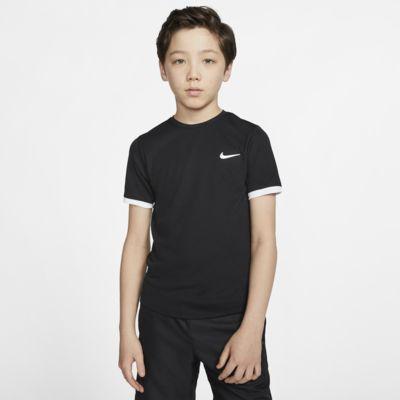 Kortärmad tenniströja NikeCourt Dri-FIT för ungdom (killar)