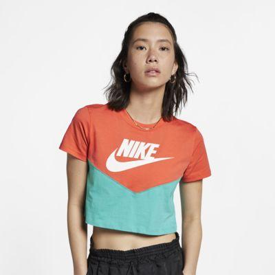 Nike Sportswear Heritage-overdel med korte ærmer til kvinder