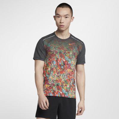 Nike Rise 365 Kurzarm-Laufoberteil mit Print für Herren