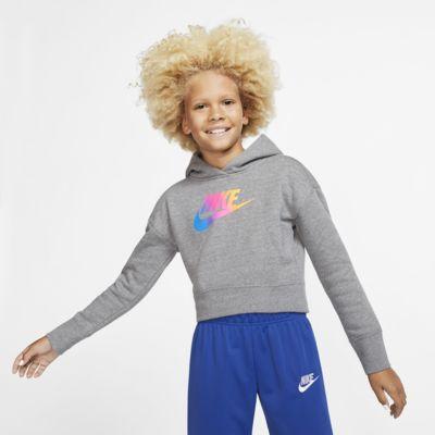 Nike Sportswear-crop hættetrøje til store børn (piger)