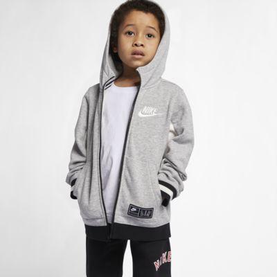 Φλις μπλούζα με κουκούλα και φερμουάρ Nike Air για μικρά παιδιά
