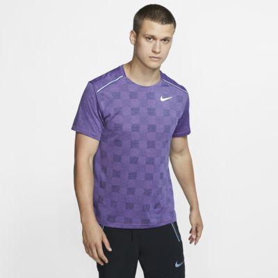 Ανδρική κοντομάνικη πλεκτή μπλούζα για τρέξιμο Nike Dri-FIT Miler