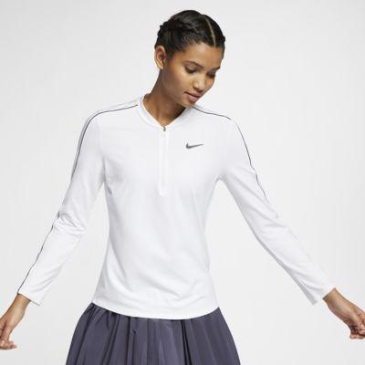 Tenniströja NikeCourt Dri-FIT med halv dragkedja för kvinnor
