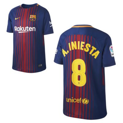 2017/18 FC Barcelona Home (Andrés Iniesta) Older Kids' Football Shirt