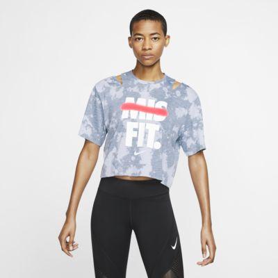 Dámský tréninkový top Nike s krátkým rukávem a grafickým motivem