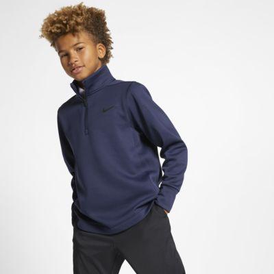 Μπλούζα γκολφ με φερμουάρ στο μισό μήκος Nike Dri-FIT Therma για μεγάλα αγόρια