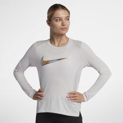 Nike Miler-løbeoverdel med lange ærmer og metallisk look til kvinder