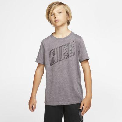Prenda para la parte superior de entrenamiento con gráfico de manga corta para niño Nike Breathe