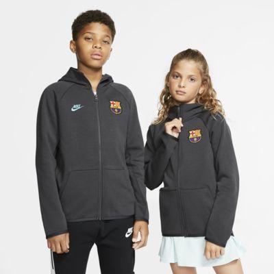 Mikina FC Barcelona Tech Fleece Essentials s kapucí a zipem po celé délce pro větší děti