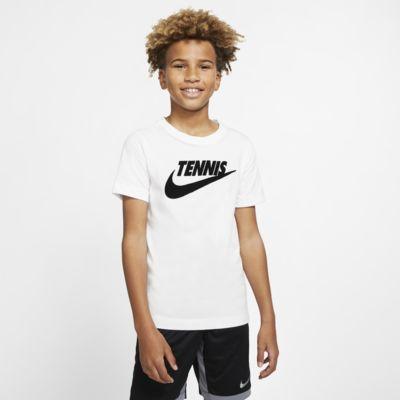 Chłopięcy T-shirt do tenisa z nadrukiem NikeCourt Dri-FIT