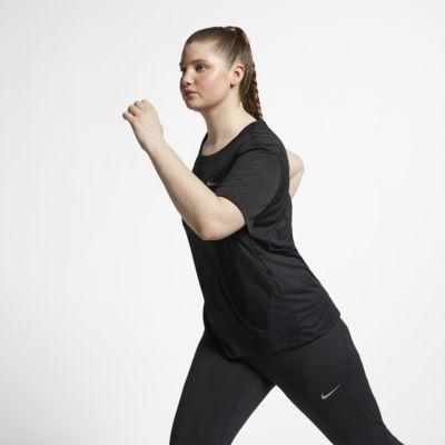 Nike Miler rövid ujjú női futófelső (plus size méret)