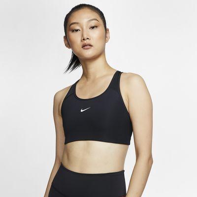Damski stanik sportowy z wkładkami i średnim wsparciem Nike Swoosh