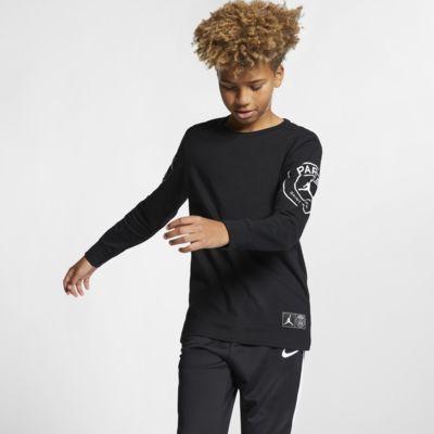 PSG-langærmet T-shirt til store børn (drenge)