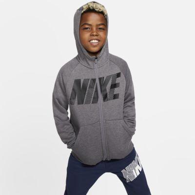 Nike Dri-FIT Big Kids' Full-Zip Graphic Training Hoodie