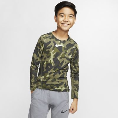 Nike Pro Warm Older Kids' (Boys') Printed Training Crew