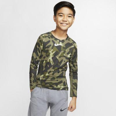 Nike Pro Warm-træningscrewtrøje med print til store børn (drenge)