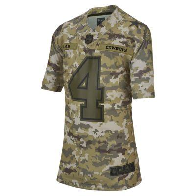 NFL Dallas Cowboys Salute to Service (Dak Prescott) Big Kids' Football Jersey