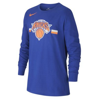 New York Knicks Nike Dri-FIT Logo-langærmet NBA-T-shirt til store børn