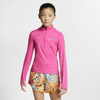 Prenda superior de running de manga larga y cierre de 1/2 para niña talla grande Nike