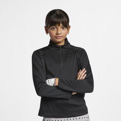 Prenda superior de golf de manga larga y cierre de 1/4 para niña talla grande Nike Dri-FIT