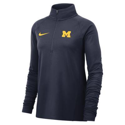 Nike College Therma (Michigan) Women's Long-Sleeve 1/2-Zip Top