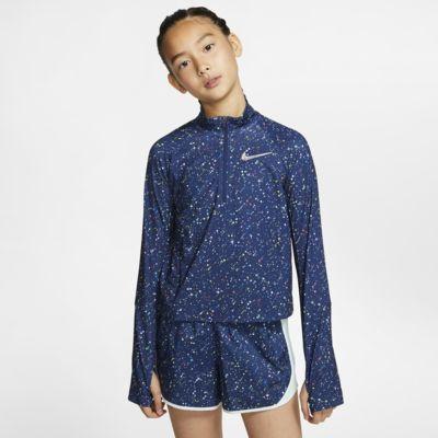 Langærmet Nike Pro Warm-overdel med halv lynlås til store børn (piger)