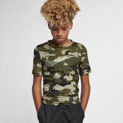 Haut camouflage à manches courtes Nike Pro pour Garçon