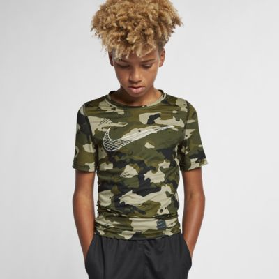 Prenda para la parte superior de camuflaje de manga corta para niño Nike Pro