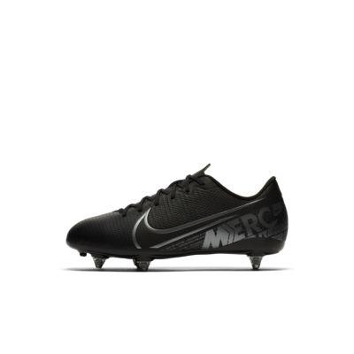 Купить Детские футбольные бутсы для игры на мягком грунте Nike Jr. Mercurial Vapor 13 Academy SG, Черный/Холодный серый/Холодный серый металлик, 23367664, 12645770