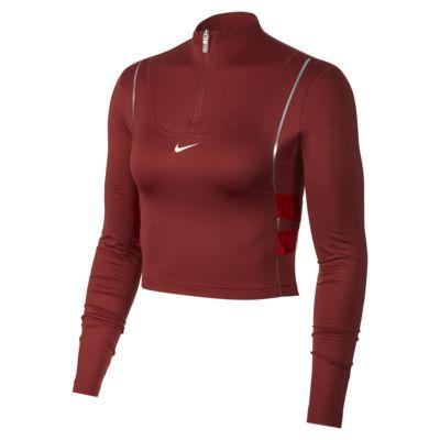 Langærmet Nike Pro HyperWarm-overdel med halv lynlås til kvinder
