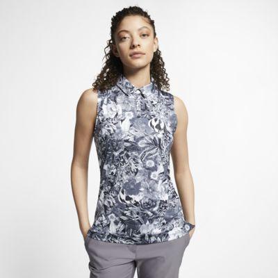 Женская рубашка-поло без рукавов с принтом для гольфа Nike Dri-FIT
