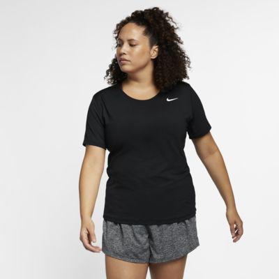 Kortärmad träningströja Nike Pro (stora storlekar) för kvinnor