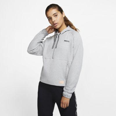 Nike F.C. Dri-FIT-fodboldhættetrøje med 1/2 lynlås til kvinder