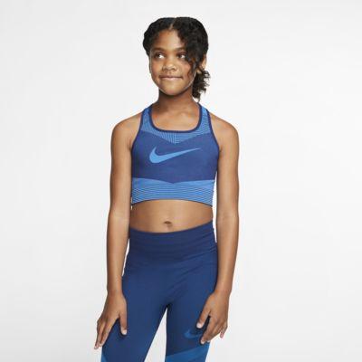 Sømløs Nike FE/NOM-sports-bh til store børn (piger)