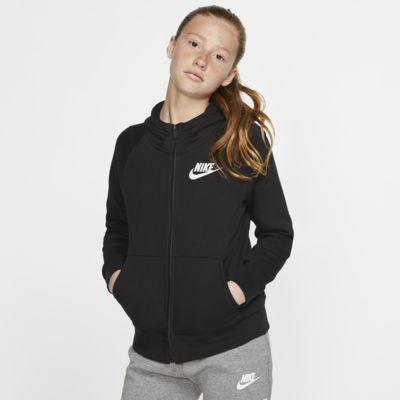 Dziewczęca bluza z kapturem i zamkiem na całej długości Nike Sportswear