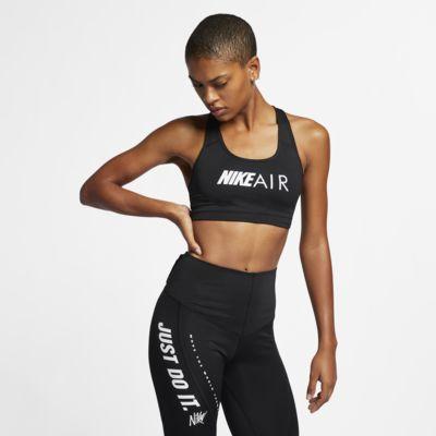 Nike Swoosh sports-BH med trykk med middels støtte til dame