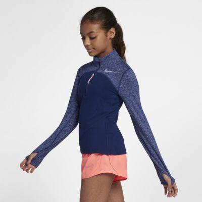 Беговая футболка с молнией на половину длины для девочек школьного возраста Nike Dri-FIT