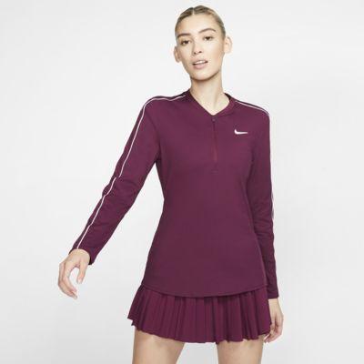 NikeCourt Dri-FIT-tennisoverdel med halv lynlås til kvinder
